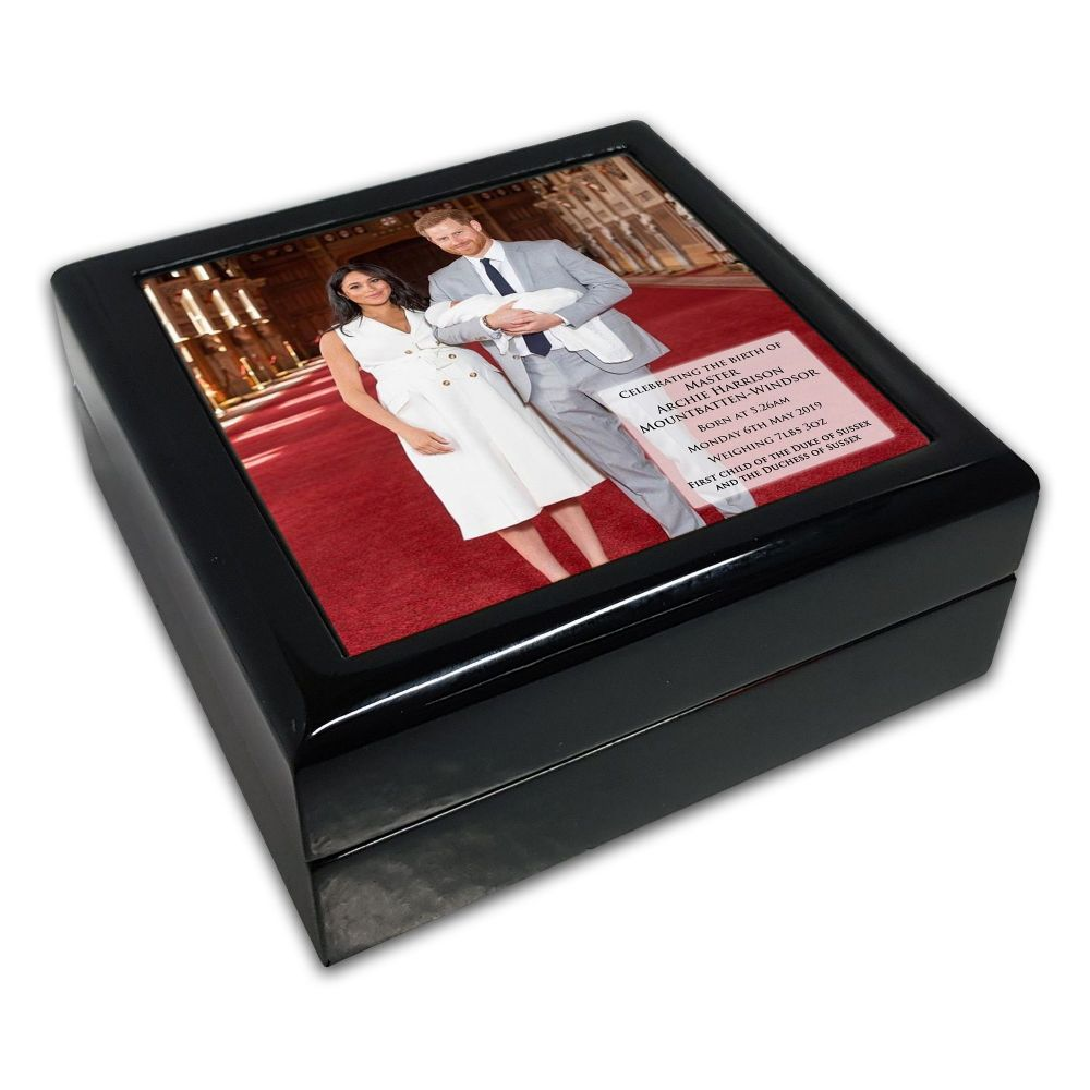 Royal Baby Master Archie Harrison Mountbatten-Windsor Black Square Jewellery Box